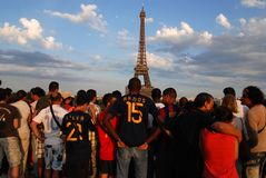 Spanish football fans in Paris stock photos