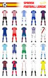 Spanish Football League Generic Kits. Set of Spanish Football League Generic Kits royalty free illustration