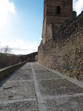 Spanish Fortress Wall. Thick stone fortress wall in Buitrago, Spain Royalty Free Stock Image