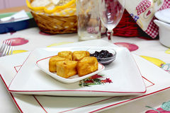 Spanish fried Cheese. Traditional spanish cuisine, Camembert frito, queso Camembert, Fried Cheese Stock Photography