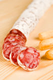 Spanish fuet salami Stock Images