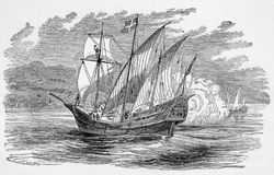 Spanish galleon, circa 1490s. A Spanish galleon similar to those used by Christopher Columbus, Hernando Cortez and other Spanish explorers of the New World. From stock illustration