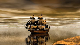 Spanish Galleon 3d rendering. D rendering of a Spanish galleon on a beautiful sunset Royalty Free Stock Photos