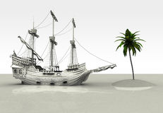 Spanish Galleon finds a palm tree Royalty Free Stock Images