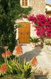 Spanish garden A. Garden with path leading to double doors Stock Image
