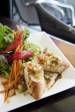 Spanish garlic bread with salad Stock Photos