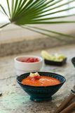 Gazpacho. Spanish Cuisine. Andalusian cold soup served in a cera Stock Photography