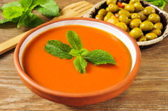 Spanish gazpacho and gazpachas olives Stock Photos