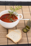 Spanish Gazpacho soup on the plate decorated with dill, cucumber Stock Photo