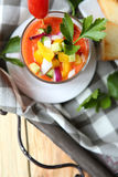 Spanish gazpacho soup on a tray Royalty Free Stock Images