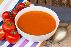 Spanish gazpacho with tomatoes close up Royalty Free Stock Photography