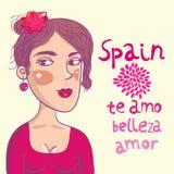 Spanish girl. Cute spanish girl  portrait - cartoon illustration Stock Images