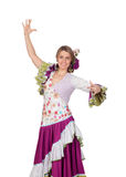 Spanish girl dressed in traditional costume Andalusian dancing Royalty Free Stock Photos
