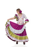 Spanish girl dressed in traditional costume Andalusian dancing Stock Image