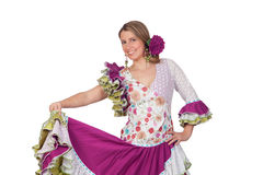 Spanish girl dressed in traditional costume Andalusian dancing Stock Photo