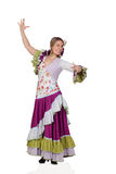 Spanish girl dressed in traditional costume Andalusian dancing Royalty Free Stock Photo