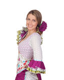 Spanish girl dressed in traditional costume Andalusian Royalty Free Stock Images