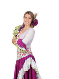 Spanish girl dressed in traditional costume Andalusian Royalty Free Stock Photos