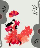Spanish girl dressed in traditional flying red dress with polka dots and holding fan in her hands dancing flamenco. Silhouettes of guitars and branches with royalty free illustration