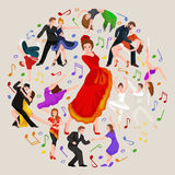 Spanish girl flamenco dancer in red dress,  beautiful dance, happy sexy woman dancing. Vector illustration of couple dancing modern dance, Partners dance bachata Stock Photos