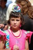 Spanish girl in a flamenco dress. Stock Photos