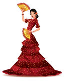 Spanish girl with two fans dances a flamenco, Royalty Free Stock Photo
