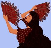 Spanish girl with two fans flamenco Royalty Free Stock Photos