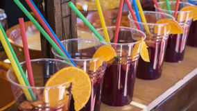 Spanish, glasses of sangria in a food, refreshing summer drink Royalty Free Stock Photos