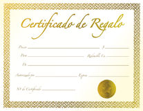 Spanish - Gold Gift Certificate with golden seal Stock Images