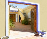 Spanish golden mediterranean courtyard house Royalty Free Stock Photo