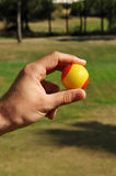 Spanish golf ball in hand, golf in Spain stock photos