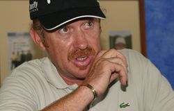 Spanish golfer Miguel Angel Jimenez at media conference. Professional golfer from Spain Miguel Angel jimenez speaks to media after his golf tournament in the Royalty Free Stock Photos