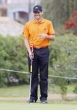 Spanish golfer Sergio garcia. Professional golfer from Spain Sergio Garcia Fernandez gestures during a golf tournament in the spanish island of Mallorca Stock Image