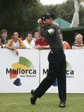 Spanish golfer Sergio garcia swing. Professional golfer from Spain Sergio Garcia Fernandez hits the ball during a golf tournament in the spanish island of Royalty Free Stock Images