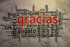 Spanish Gracias, Open Word Cloud, Thanks, Grunge Background Royalty Free Stock Photo