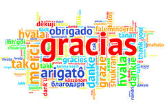 Spanish Gracias, Open Word Cloud, Thanks, on white. Focus on Spanish - Gracias, Word cloud in open form on white Background. saying thanks in multiple languages Royalty Free Stock Images
