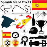 Spanish Grand Prix F1. Vector set of Spanish Grand Prix F1 with country shape, flags and sport icons isolated on white background Stock Image