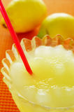 Spanish granizado de limon, a semi frozen dessert made with lemo. A glass with spanish granizado de limon, a semi frozen dessert made with lemon juice and sugar Royalty Free Stock Images