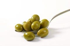 Spanish green olives Stock Photos