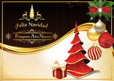 Spanish Greeting card for Christmas and New Year. Greeting card for Christmas and New Year containing wishes in Spanish language Feliz Navidad y Prospero Ano Royalty Free Stock Photo