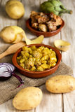 Spanish guiso de patatas con albondigas, a stew with potatotes a Royalty Free Stock Photography