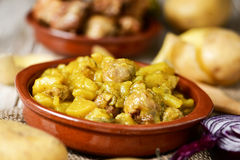 Spanish guiso de patatas con albondigas, a stew with potatotes a Royalty Free Stock Images