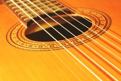 Spanish guitar. Frets and strings Royalty Free Stock Image