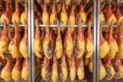 Spanish ham cellar. Food industry.  stock photos