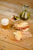 Spanish ham and cheese bocadillo Royalty Free Stock Photos
