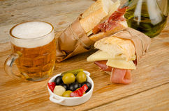 Spanish ham and cheese sandwich Stock Images
