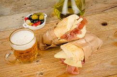 Spanish ham and cheese sandwich Stock Photos