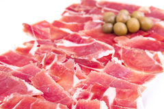 Spanish ham. Iberian ham on the plate about to eat Stock Images