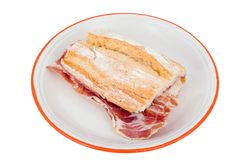 Spanish ham sandwich. Irresistible if you are hungry royalty free stock image