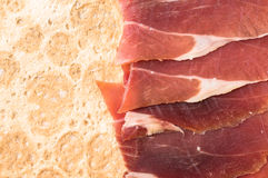 Spanish ham slices on a thin tortilla bread Royalty Free Stock Photos